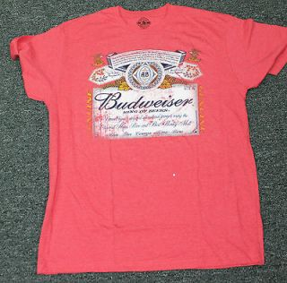 Budweiser Red King of Beers T shirt Large Cotton Retro Vintage Classic