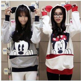 NEW Japan womens girls vivi mickey mouse ear hoodie zip up sweatshirt
