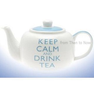 Keep Calm And Drink Tea Teapot White & Blue Gift Boxed Retro Vintage