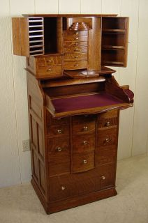 Antique Oak Ransom & Randolph Dental Cabinet #35 Deluxe Model