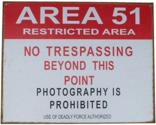 area 51 roswell restricted tin sign bar no trespassing time