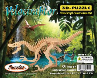 Velociraptor Dinosaur 3D Puzzle Wood Craft Construction Kit