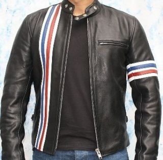 Easy Rider Striped Leather Motorcycle Jacket Size L (100% Genuine