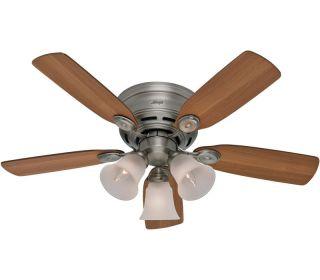 Low Profile Plus Pewter Hugger 42 Ceiling Fan w/ LT & Pull Chains