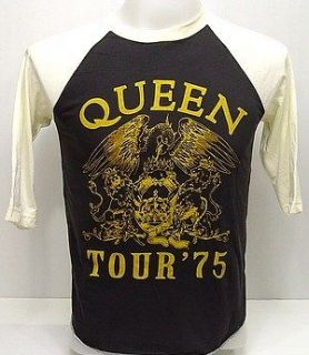queen freddie 1975 tour vtg rock 3 4 jersey t shirt s