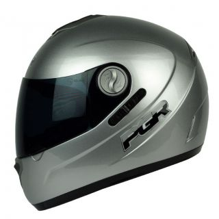 PGR DV100 Metallic Silver Dual Visor DOT APPROVED Motorcycle Helmet S