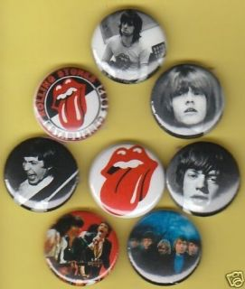 set of 8 rolling stones buttons pins b adges time