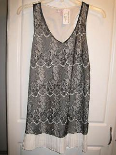NWT~ROMEO & JULIET COUTURE Ivory Pleated Black Lace Top~Size Small