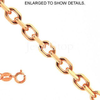 14k solid rose gold 1 1mm cable link chain necklace