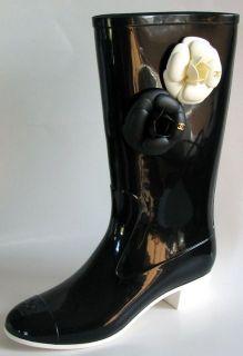 CHANEL RARE Black White Camelia Logo Rain Rubber Boots EU 41 US 10