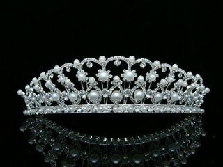 Bridal Pageant Rhinestones Crystal Pearl Wedding Silver Crown Tiara