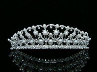Bridal Pageant Rhinestones Crystal Pearl Wedding Silver Crown Tiara