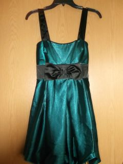NWT $129 Speechless Sz 7 Green Black Bow Dress Homecoming Wedding Teen