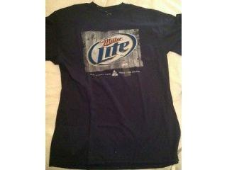 NEw Miller Lite Beer mens t Shirt Blue L Logo Large Blue Navy
