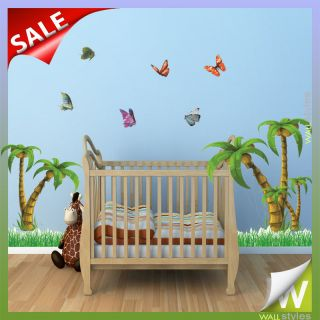 Jungle Vinyl Wall Stickers With Butterflies Kids Room Nursery Decor