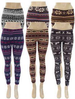 Snowflake Stretchy,Knit,Winter Leggings Black,White,Blue,Brown