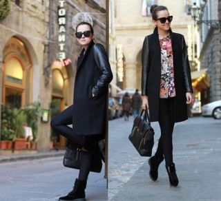 Fashion New Womens Wool Blend Black PU Faux Leather Sleeved Fitted