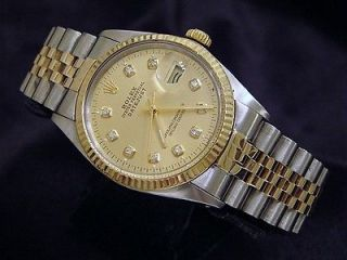 MENS   2TONE 18K GOLD & SS ROLEX DATEJUST WATCH DIAMOND DIAL