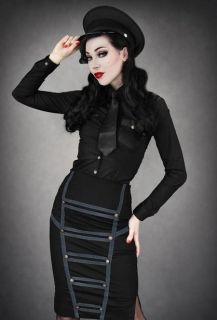 Goth/Rockabilly/Punk Restyle clothing black military style pencil