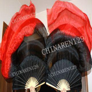 no sequins 1.5M BELLY DANCE 100% SILK BAMBOO FAN VEILS black red 199