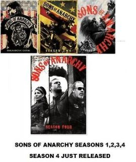 Sons of Anarchy DVD SET. SEASONS 1,2,3,4. ALL SEASONS COMPLETE FREE