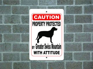 Property protected Greater Swiss Mountain dog with attitude metal