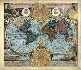 Hi Res Art VINTAGE OLD CARTOGRAPHIC WORLD MAP & ATLAS Illustrations