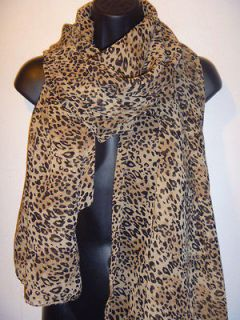 Sexy Leopard Print Semi Sheer Pareo Shawl SARONG LONG Wide SCARF #JF