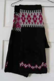 gap w s black pattern acrylic knitted scarf $ 29 50 nwt