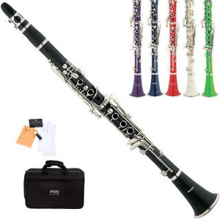 Mendini Black Blue Green Purple Red White Bb Clarinet +Case+CareKit+11