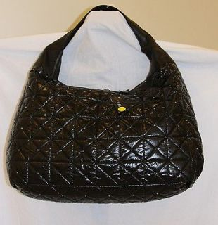 NWT FURLA Onyx Black Quilted Nylon & Leather SALOME Extra Large Hobo $