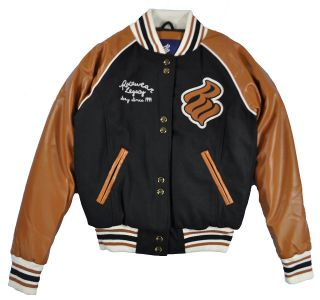 Rocawear Womens Black & Bronze Wool Varsity Jacket Size S M L XL $109