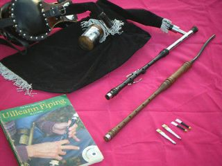 IRISH UILLEANN BAGPIPE PRACTICE SET AFRICAN BLACKWOOD 3 KEY CHANTER