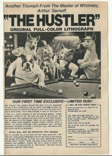 ad ~ The HUSTLER ~ Dogs Playing Pool~5 x 7~Arthur SARNOFF~poker