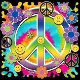 neon smiley peace sign women s black t shirt size l