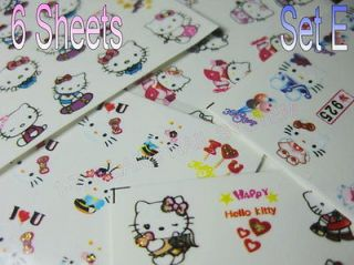 Design Hello Kitty Nail Art Water Decals Transfer Film Sticker SetE