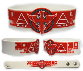 30 SECONDS TO MARS Rubber Bracelet Wristband Hurricane White/Red