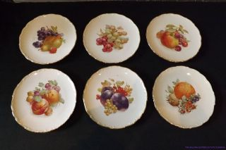 CM46 SCHUMANN ARZBERG GERMANY SET OF 6 FRUIT AND NUT PLATES GOLD TRIM