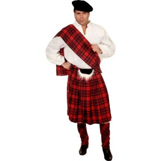 Scottish Kilt Red Tartan Plaid Highlander Dress Up Halloween Adult