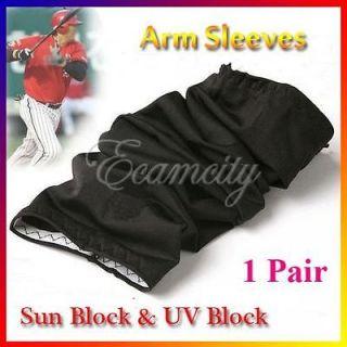 Pair Black Sun UV Block Arm Sleeves Sleevelet Cover Outdoor Cycling