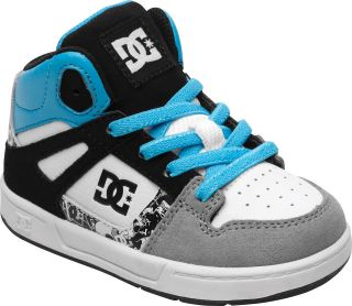 dc rebound toddler boys skate hi top shoes grey black
