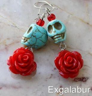 Dead Dia de los Muertos Turquoise Rose Skull Señorita Mexico Earrings