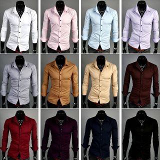 NEW MENS SLIM BASIC LONG SLEEVE CASUAL DRESS SHIRTS 13 COLOR 4 SIZE S