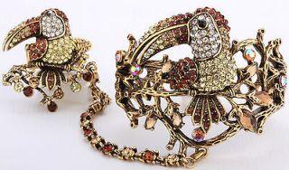 Gold brown crystal slave toucan bracelet ring set 1;buy 10 items free