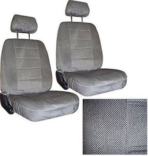 Grey Gray Car SEAT COVERS 2 low back seatcovers w/ head rest #3