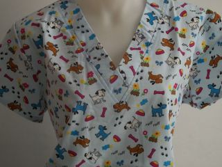 XL 2XL ANIMAL DOG PRINT BROWN BLACK PINK YELLOW BLUE WHITE SCRUB TOP