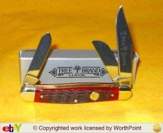 BOKER KNIVES 7474JRB JIGGED RED BONE SOLINGEN GERMANY STOCKMAN KNIFE