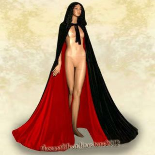 Black Velvet Red Satin Lined Hooded Halloween Cloak Masquerade Wedding