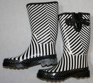 Womens Mid Calf Zebra Print Rain Boots Sizes 6, 7, 8, 9 &10   Merona
