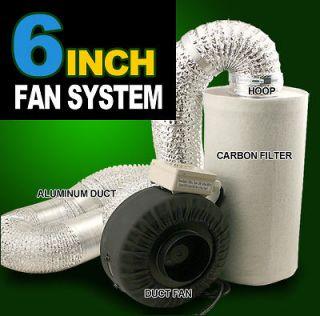 hydroponics Inline Duct Tube Exhaust Fan Carbon Filter Kit 440CFM